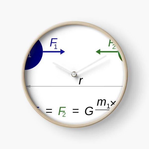 Every point mass attracts every single other point mass by a force acting along the line intersecting both points Clock