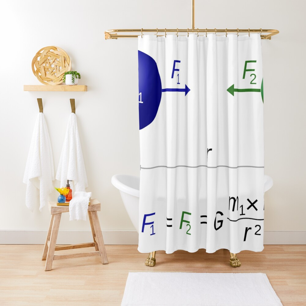 Every point mass attracts every single other point mass by a force acting along the line intersecting both points Shower Curtain