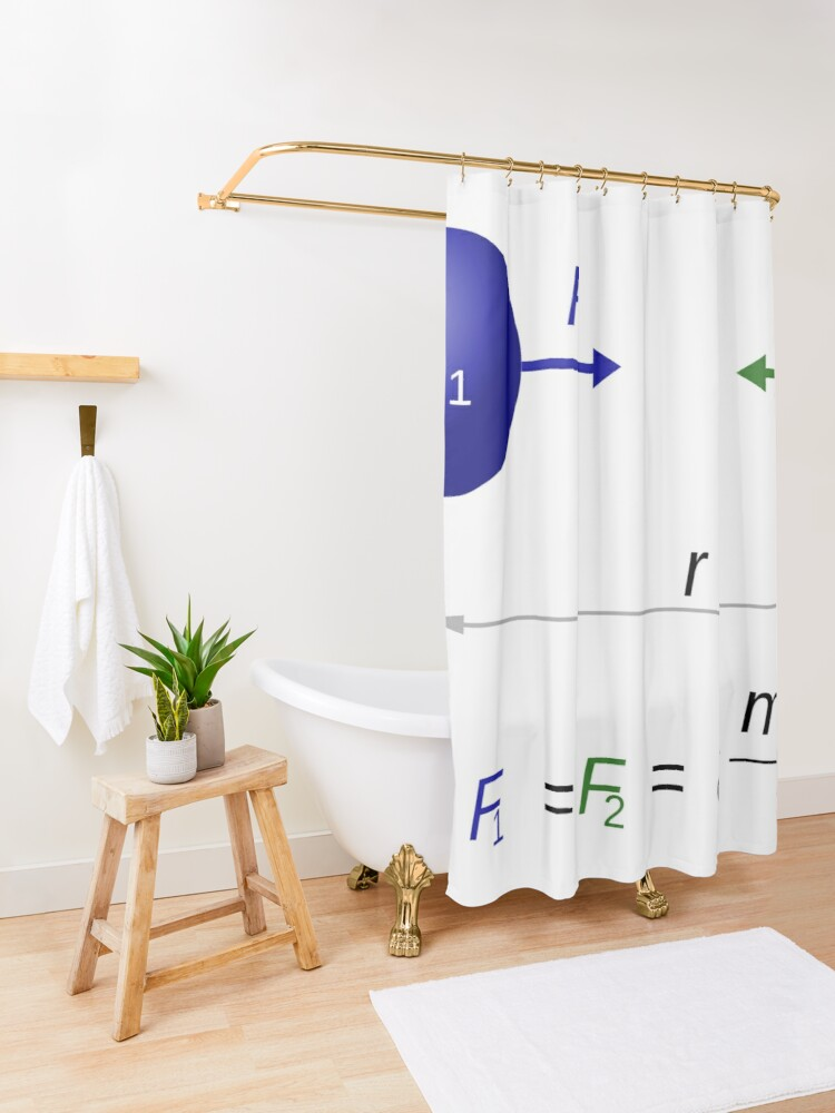 Alternate view of Every point mass attracts every single other point mass by a force acting along the line intersecting both points Shower Curtain