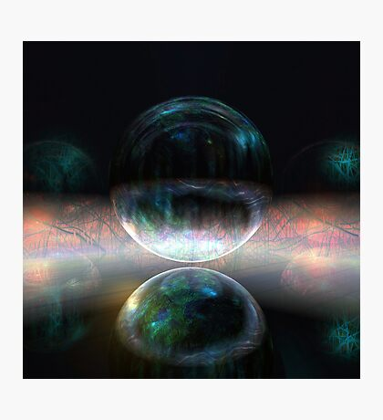 Iridescent bubbles in the darkness of airless caverns Photographic Print