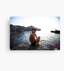 Kids in the beach, Mallorca Canvas Print