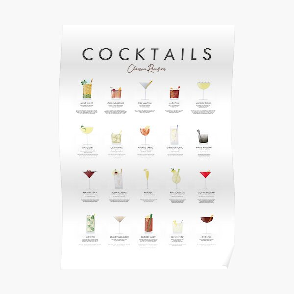 Cocktail chart - Classic recipes Poster