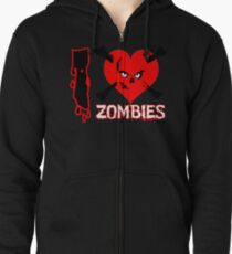 I heart zombies Zipped Hoodie