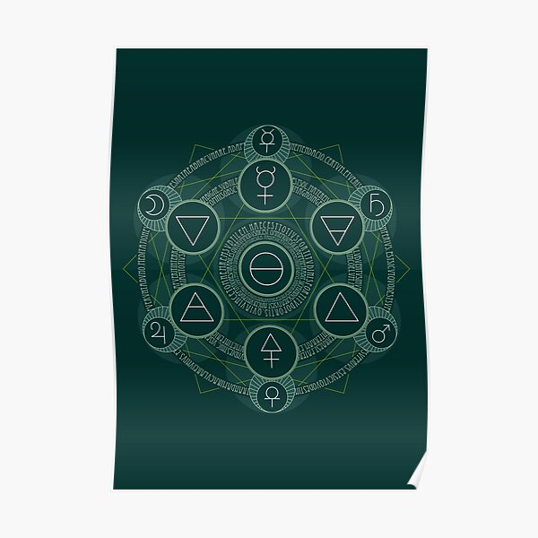 Emerald Tablet alchemy circle green Poster