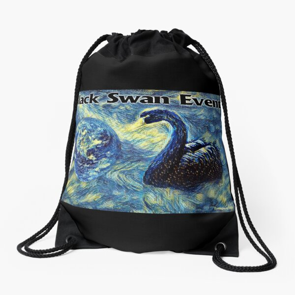 Black Swan Event Drawstring Bag