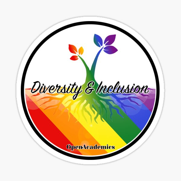 OpenAcademics Diversity and Inclusion tree (no boarder) Sticker