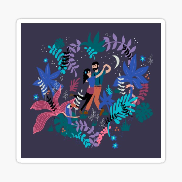 Dancing in the garden at midnight Sticker