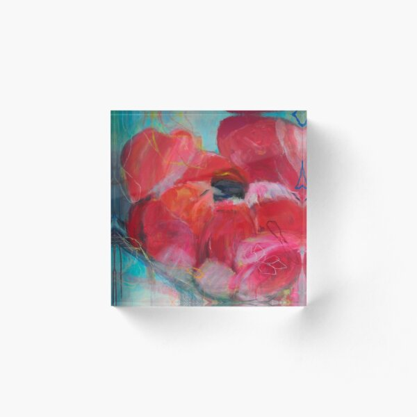 Blossoms Art Rose Garden Pink Red Woman Love Peony Peony Acrylic Block