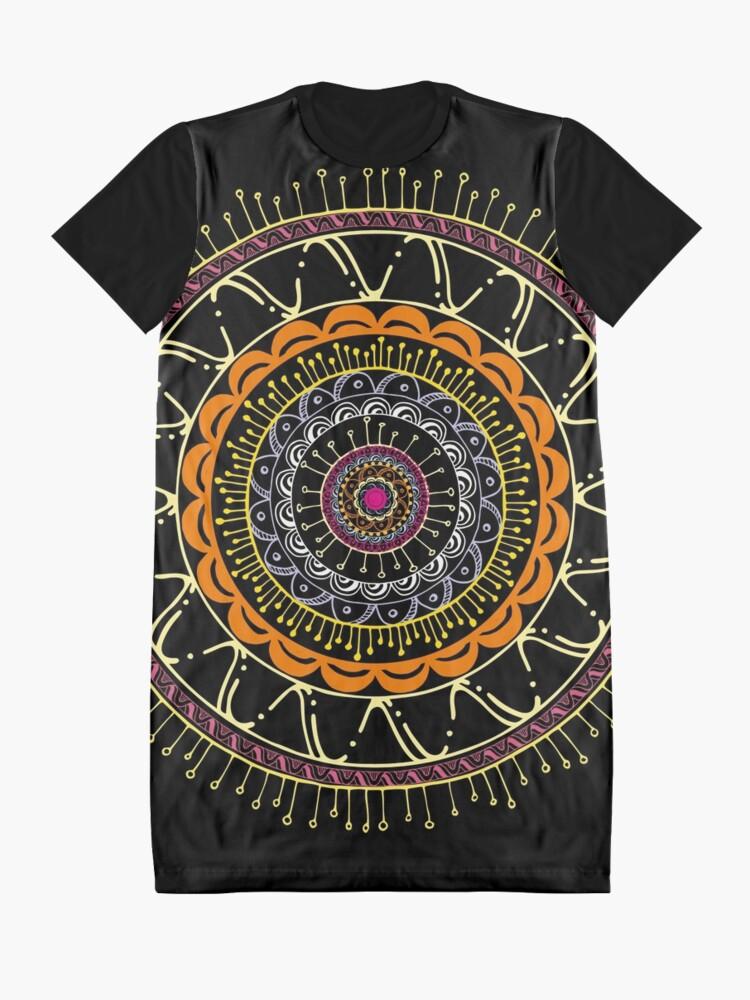 Vista alternativa de Vestido camiseta Mandala dark and colors