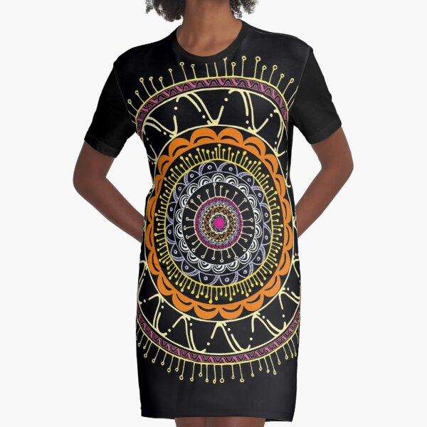 Mandala dark and colors Vestido camiseta