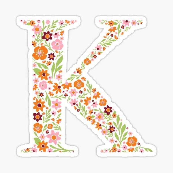 Retro Floral Letter K Sticker