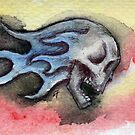 Skull with blue flames by Lee Twigger