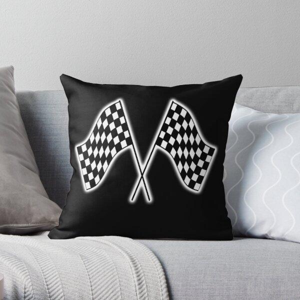 Checker Flag. Race. Checkered Flag. Win. Winner. On Black. Throw Pillow