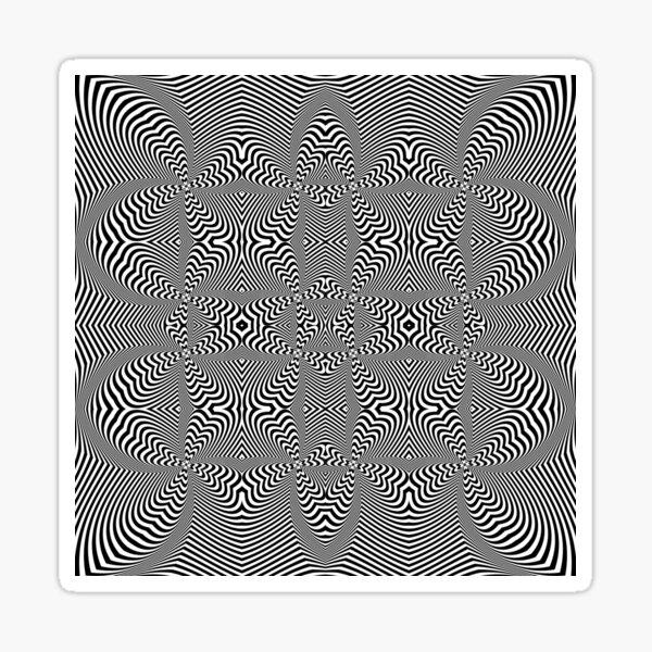 Psychogenic, hypnotic, hallucinogenic, black and white, psychedelic, hallucinative, mind-bending, psychoactive pattern Sticker