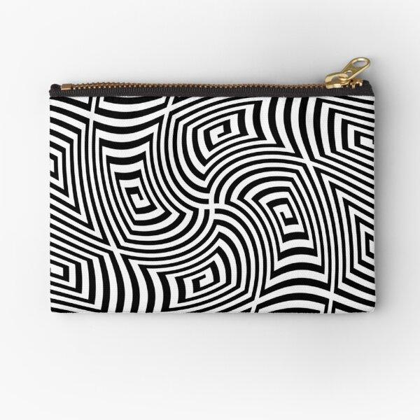 Psychogenic, hypnotic, hallucinogenic, black and white, psychedelic, hallucinative, mind-bending, psychoactive pattern Zipper Pouch