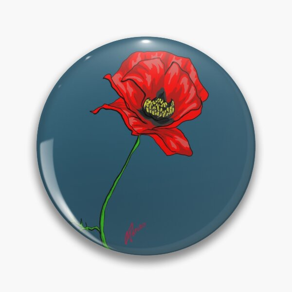 One red poppy. Pin