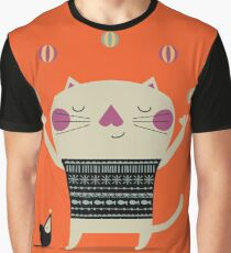 Cute Cat Juggling Graphic T-Shirt