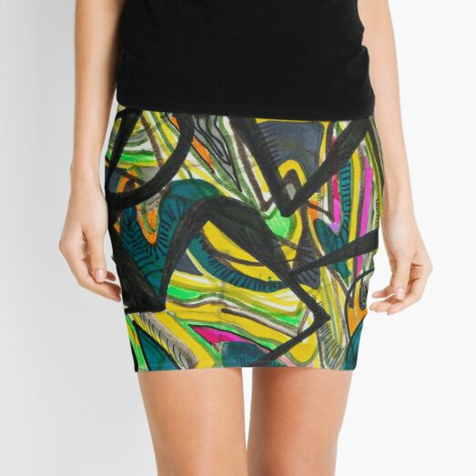 Multicoloured abstract design Mini Skirt