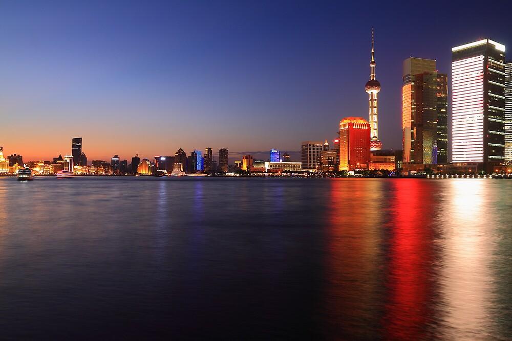 Shanghai dusk skyline by ArtPhotographer