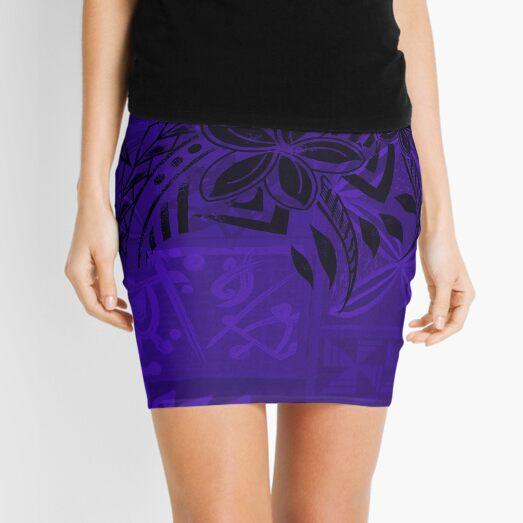 Old Samoa Purple Tribal  Mini Skirt