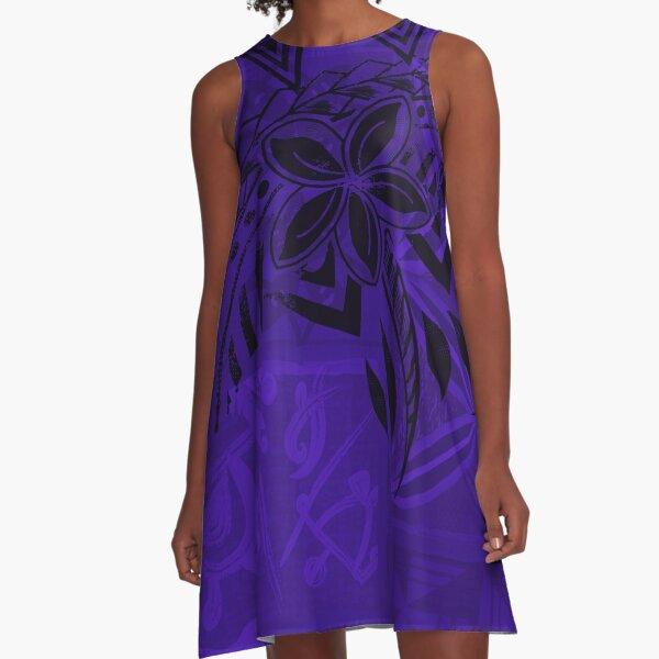 Old Samoa Purple Tribal  A-Line Dress
