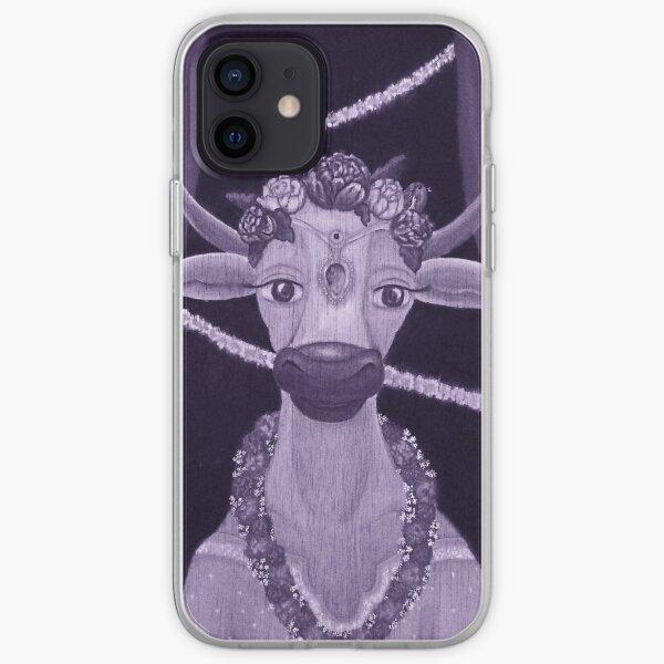 Vintage Cow Bride with Aquamarine Gemstone Indian Headpiece iPhone Soft Case