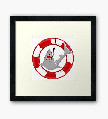 Shark on the hook VRS2 Framed Print