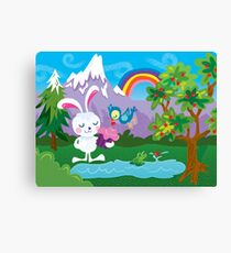 Shamelessly Cute Bunny with Cupcake and Blue Bird Canvas Print