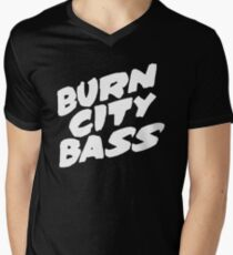 Burn City Bass (White) Men's V-Neck T-Shirt