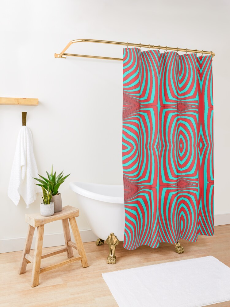 Alternate view of Psychogenic, hypnotic, hallucinogenic, black and white, psychedelic, hallucinative, mind-bending, psychoactive pattern Shower Curtain