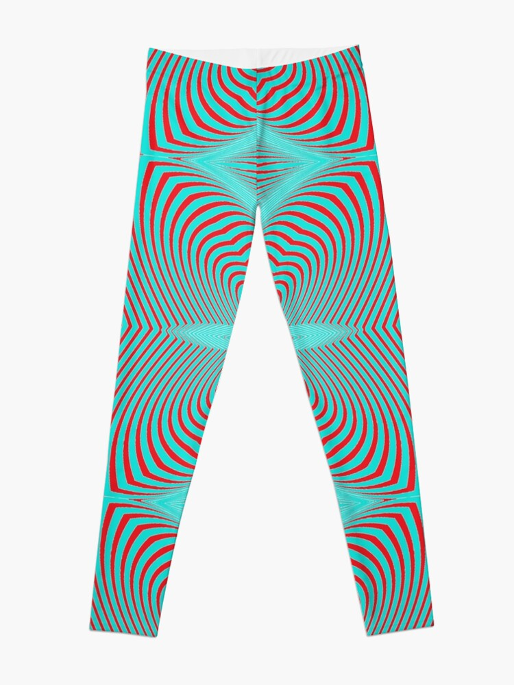 Alternate view of Psychogenic, hypnotic, hallucinogenic, black and white, psychedelic, hallucinative, mind-bending, psychoactive pattern Leggings