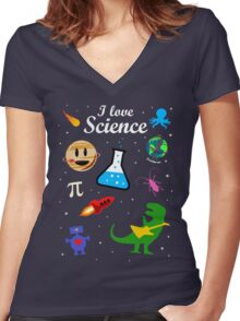 I Love Science Women's Fitted V-Neck T-Shirt