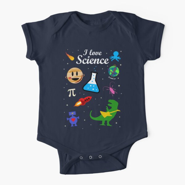 I Love Science Short Sleeve Baby One-Piece