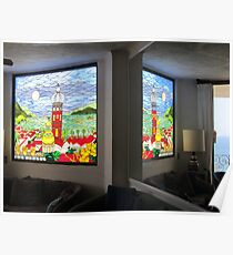 Stained Glass Window in the Mirror - Ventana de Vidrio Enplomado Poster