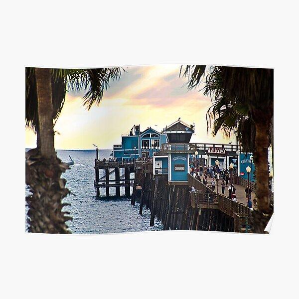 Sunset at Oceanside Pier Poster