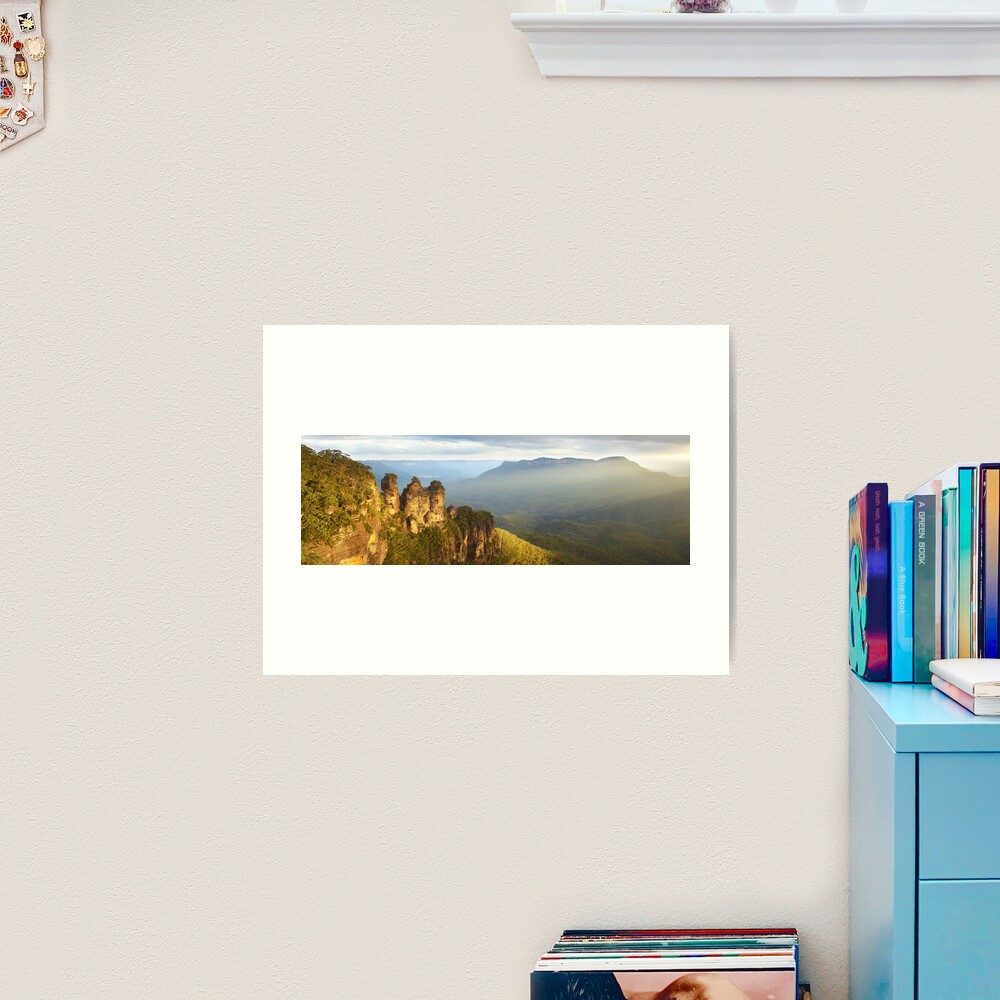 Three Sisters Sunset, Blue Mountains, NSW, Australia Art Print