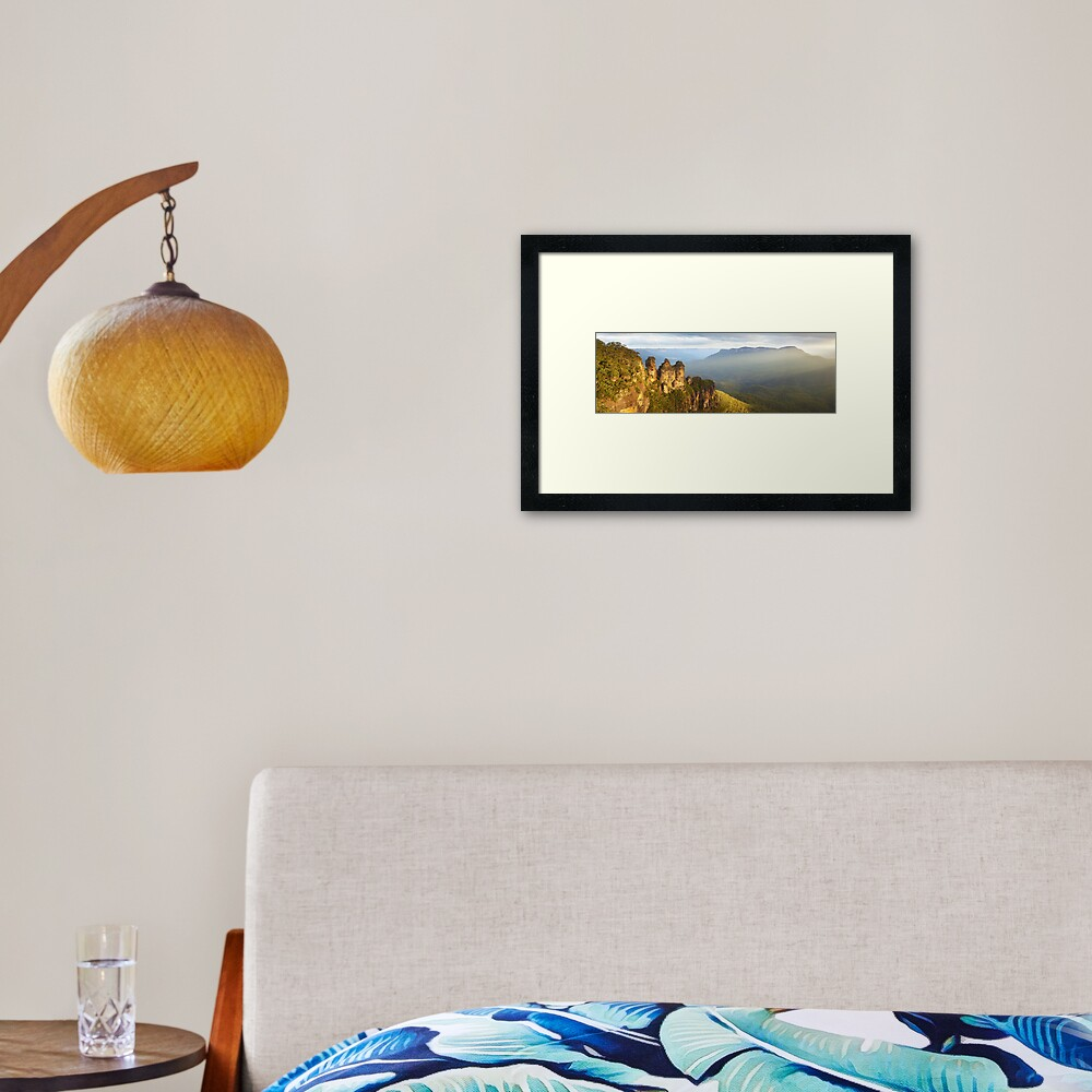 Three Sisters Sunset, Blue Mountains, NSW, Australia Framed Art Print