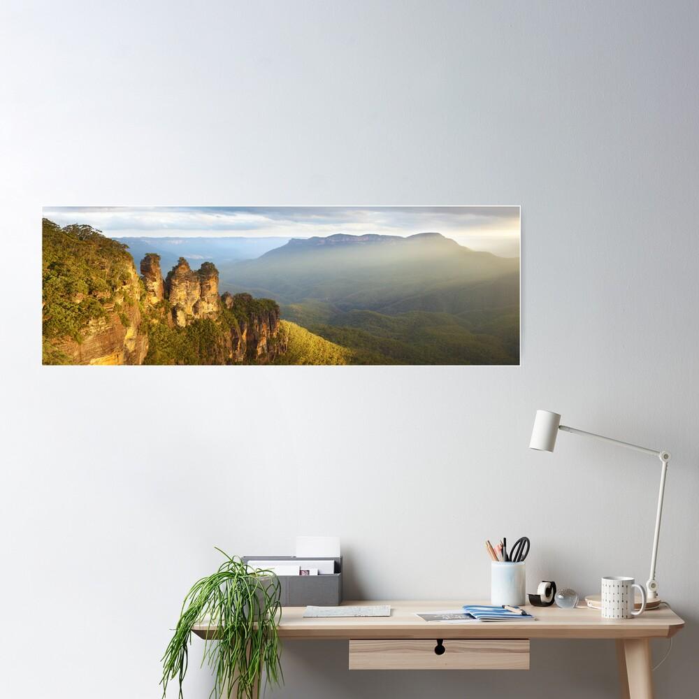 Three Sisters Sunset, Blue Mountains, NSW, Australia Poster