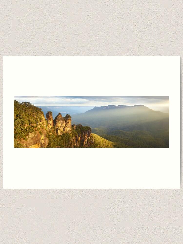 Alternate view of Three Sisters Sunset, Blue Mountains, NSW, Australia Art Print