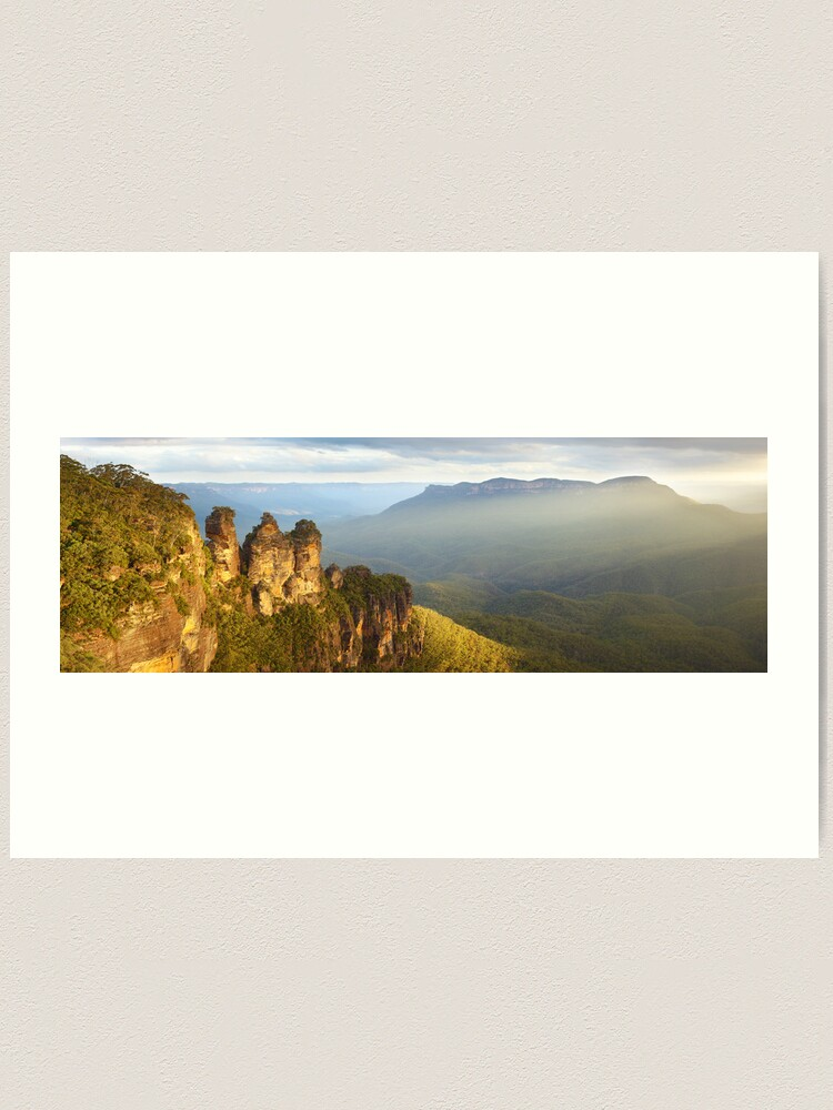 Alternate view of Three Sisters Sunset, Blue Mountains, NSW, Australia Art Print