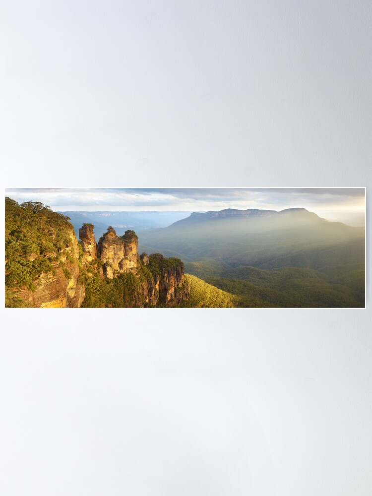 Alternate view of Three Sisters Sunset, Blue Mountains, NSW, Australia Poster