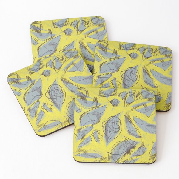 Yellow abstract design Coasters (Set of 4)