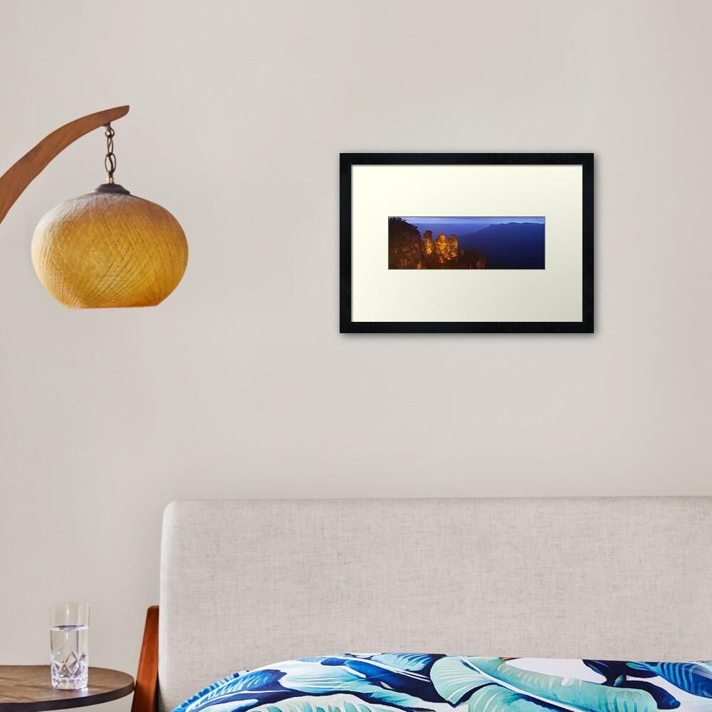 Three Sisters Dusk, Blue Mountains, Australia Framed Art Print