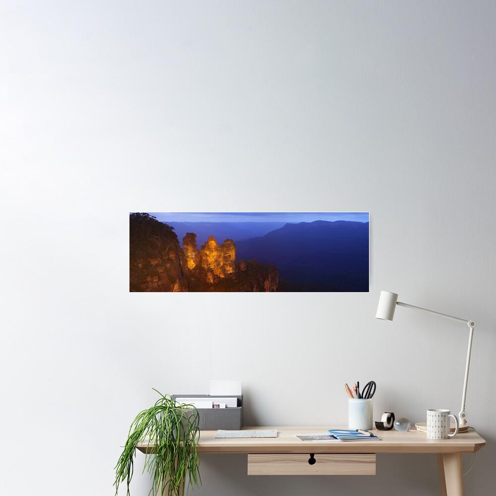 Three Sisters Dusk, Blue Mountains, Australia Poster
