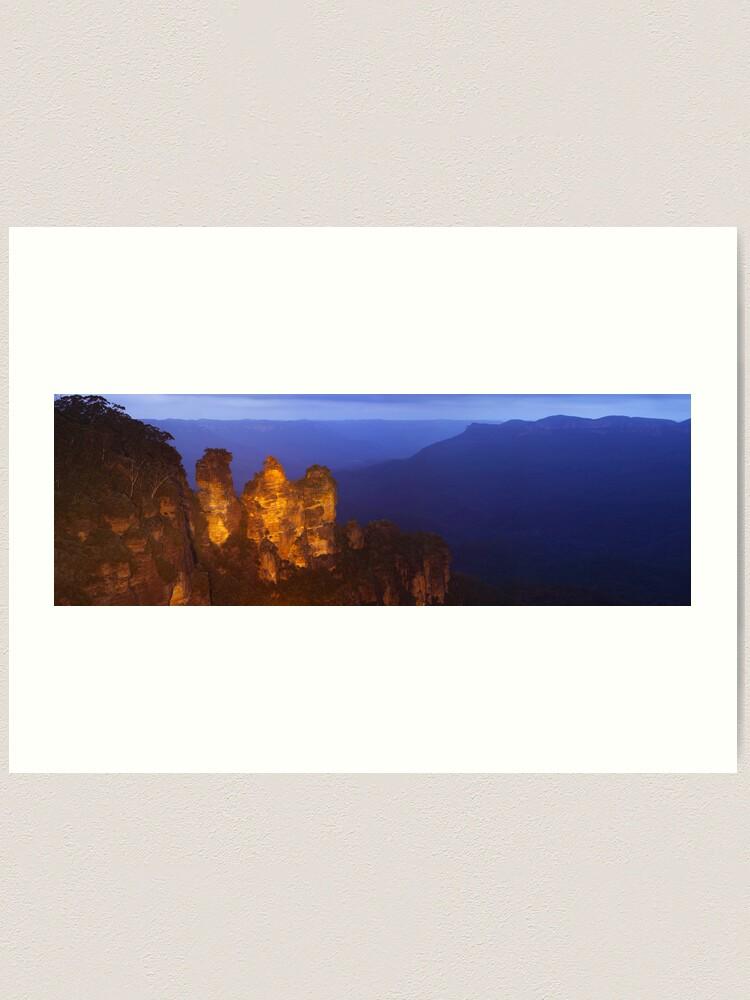 Alternate view of Three Sisters Dusk, Blue Mountains, Australia Art Print