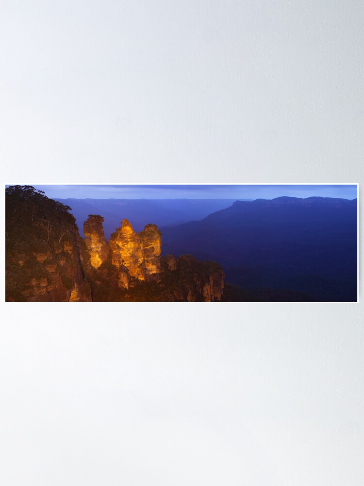 Alternate view of Three Sisters Dusk, Blue Mountains, Australia Poster