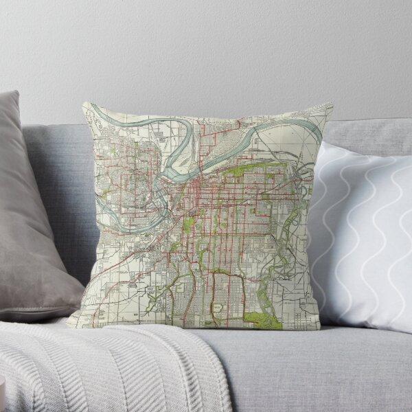 Vintage Map of Kansas City Missouri (1920) Throw Pillow
