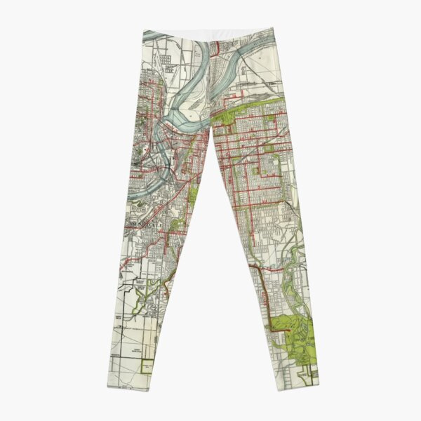 Vintage Map of Kansas City Missouri (1920) Leggings