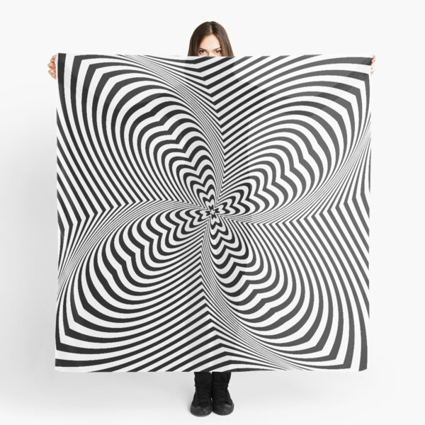 Psychogenic, hypnotic, hallucinogenic, black and white, psychedelic, hallucinative, mind-bending, psychoactive pattern Scarf