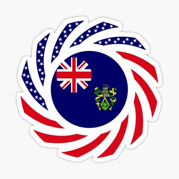 Pitcairn Islander American Multinational Patriot Flag Series Sticker